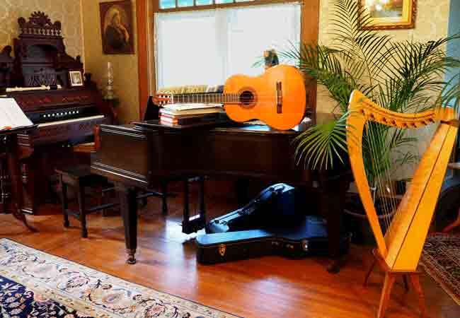 Musical instruments in the front parlor